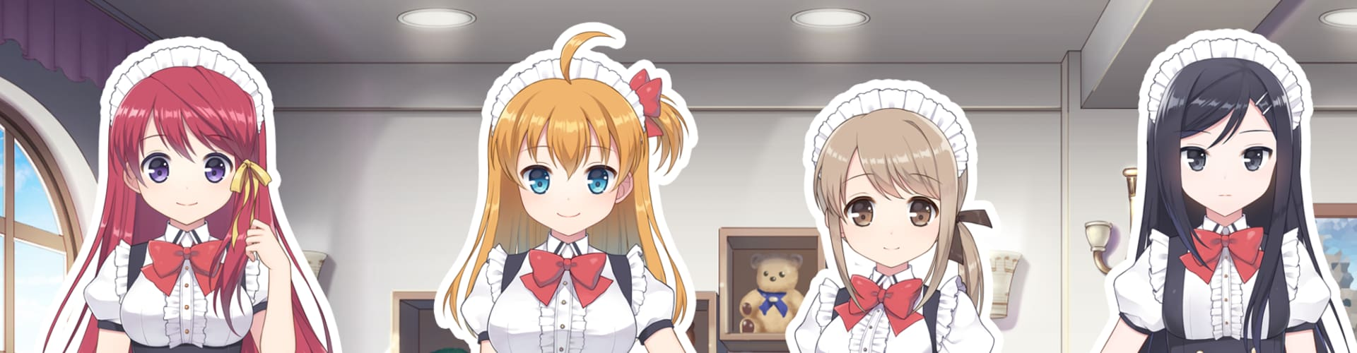 A game against the backdrop of a maid cafe currently under development